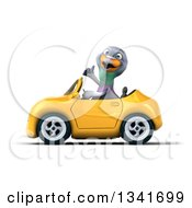 Clipart Of A 3d Pigeon Giving A Thumb Up And Driving A Yellow Convertible Car To The Left Royalty Free Illustration