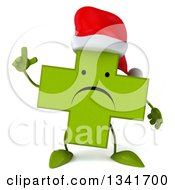 Clipart Of A 3d Unhappy Green Christmas Naturopathic Cross Character Holding Up A Finger Royalty Free Illustration by Julos