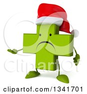 Clipart Of A 3d Unhappy Green Christmas Naturopathic Cross Character Presenting Royalty Free Illustration by Julos