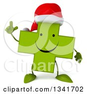 Clipart Of A 3d Happy Green Christmas Naturopathic Cross Character Holding Up A Finger Royalty Free Illustration