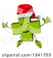 Clipart Of A 3d Happy Green Christmas Naturopathic Cross Character Jumping Royalty Free Illustration