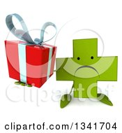 Clipart Of A 3d Unhappy Green Naturopathic Cross Character Holding Up A Gift Royalty Free Illustration by Julos