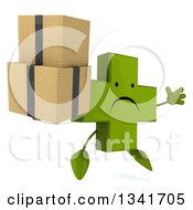 Clipart Of A 3d Unhappy Green Naturopathic Cross Character Facing Slightly Right Jumping And Holding Boxes Royalty Free Illustration