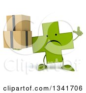 Clipart Of A 3d Unhappy Green Naturopathic Cross Character Holding Up A Finger And Boxes Royalty Free Illustration