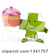 Clipart Of A 3d Happy Green Naturopathic Cross Character Holding A Pink Frosted Cupcake Royalty Free Illustration