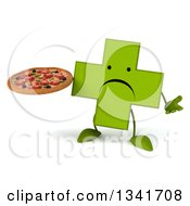 Clipart Of A 3d Unhappy Green Naturopathic Cross Character Shrugging And Holding A Pizza Royalty Free Illustration