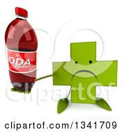 Clipart Of A 3d Unhappy Green Naturopathic Cross Character Holding Up A Soda Bottle Royalty Free Illustration