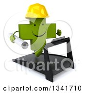 Clipart Of A 3d Happy Green Contractor Naturopathic Cross Character Running On A Treadmill Facing Slightly Right Royalty Free Illustration