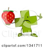 Clipart Of A 3d Unhappy Green Naturopathic Cross Character Holding Up A Finger And A Strawberry Royalty Free Illustration