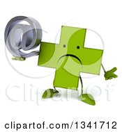 Clipart Of A 3d Unhappy Green Naturopathic Cross Character Shrugging And Holding An Email Arobase At Symbol Royalty Free Illustration