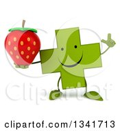Clipart Of A 3d Happy Green Naturopathic Cross Character Holding Up A Finger And A Strawberry Royalty Free Illustration by Julos