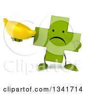 Clipart Of A 3d Unhappy Green Naturopathic Cross Character Holding And Pointing To A Banana Royalty Free Illustration
