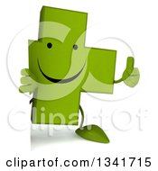 Clipart Of A 3d Happy Green Naturopathic Cross Character Holding A Thumb Up Around A Sign Royalty Free Illustration by Julos