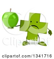 Clipart Of A 3d Unhappy Green Naturopathic Cross Character Holding An Apple Royalty Free Illustration