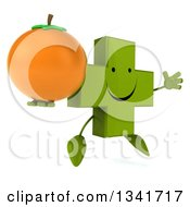 Clipart Of A 3d Happy Green Naturopathic Cross Character Holding A Navel Orange Facing Slightly Right And Jumping Royalty Free Illustration by Julos