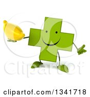 Clipart Of A 3d Happy Green Naturopathic Cross Character Shrugging And Holding A Banana Royalty Free Illustration
