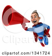 Clipart Of A 3d Young Brunette White Male Super Hero In A Blue And Red Suit Flying And Announcing With A Megaphone Royalty Free Illustration
