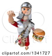 Clipart Of A 3d Young Male Roman Legionary Soldier Holding A Double Cheeseburger And Flying Royalty Free Illustration