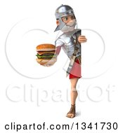 Clipart Of A 3d Full Length Young Male Roman Legionary Soldier Holding A Double Cheeseburger And Looking Around A Sign Royalty Free Illustration