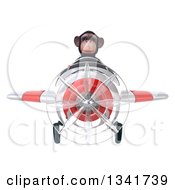 Clipart Of A 3d Chimpanzee Monkey Aviator Pilot Flying A White And Red Airplane Royalty Free Illustration