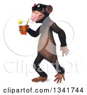 Clipart Of A 3d Female Chimpanzee Wearing Sunglasses Walking To The Left And Drinking A Beverage Royalty Free Illustration