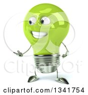 Clipart Of A 3d Happy Green Light Bulb Character Presenting To The Left Royalty Free Illustration