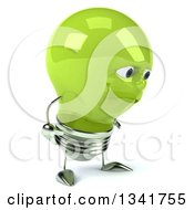 Clipart Of A 3d Happy Green Light Bulb Character Pouting And Facing Right Royalty Free Illustration