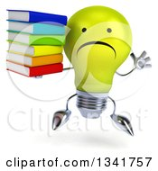 Clipart Of A 3d Unhappy Yellow Light Bulb Character Jumping And Holding A Stack Of Books Royalty Free Illustration