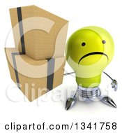 Clipart Of A 3d Unhappy Yellow Light Bulb Character Holding Up Boxes Royalty Free Illustration