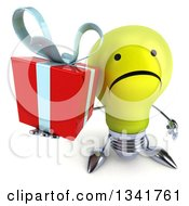 Clipart Of A 3d Unhappy Yellow Light Bulb Character Holding Up A Gift Royalty Free Illustration