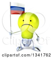 Clipart Of A 3d Unhappy Yellow Light Bulb Character Holding A Russian Flag Royalty Free Illustration