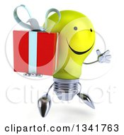 Clipart Of A 3d Happy Yellow Light Bulb Character Facing Slightly Right Jumping And Holding A Gift Royalty Free Illustration