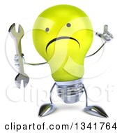 Clipart Of A 3d Unhappy Yellow Light Bulb Character Holding Up A Finger And A Key Royalty Free Illustration