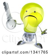 Clipart Of A 3d Unhappy Yellow Light Bulb Character Shrugging And Holding A Key Royalty Free Illustration