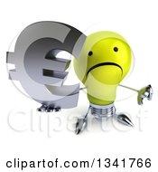 Clipart Of A 3d Unhappy Yellow Light Bulb Character Holding Up A Thumb Down And Euro Currency Symbol Royalty Free Illustration