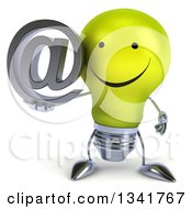Clipart Of A 3d Happy Yellow Light Bulb Character Holding An Email Arobase At Symbol Royalty Free Illustration