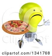 Clipart Of A 3d Unhappy Yellow Light Bulb Character Facing Slightly Right Jumping And Holding A Pizza Royalty Free Illustration