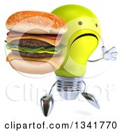 Clipart Of A 3d Unhappy Yellow Light Bulb Character Holding A Double Cheeseburger Facing Slightly Right And Jumping Royalty Free Illustration