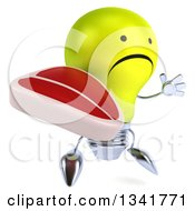 Clipart Of A 3d Unhappy Yellow Light Bulb Character Facing Slightly Right Jumping And Holding A Beef Steak Royalty Free Illustration