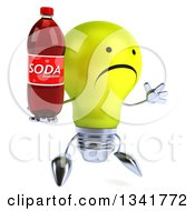 Clipart Of A 3d Unhappy Yellow Light Bulb Character Facing Slightly Right Jumping And Holding A Soda Bottle Royalty Free Illustration