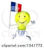 Clipart Of A 3d Happy Yellow Light Bulb Character Holding A French Flag And Jumping Royalty Free Illustration