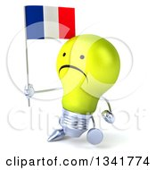 Clipart Of A 3d Unhappy Yellow Light Bulb Character Holding A French Flag And Walking Slightly To The Left Royalty Free Illustration