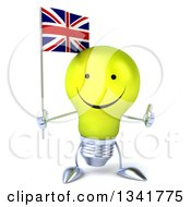 Clipart Of A 3d Happy Yellow Light Bulb Character Holding A British Union Jack Flag And Giving A Thumb Up Royalty Free Illustration