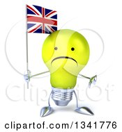 Clipart Of A 3d Unhappy Yellow Light Bulb Character Holding A British Union Jack Flag And Giving A Thumb Down Royalty Free Illustration