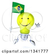 Clipart Of A 3d Happy Yellow Light Bulb Character Holding A Brazilian Flag And Jumping Royalty Free Illustration