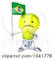 Clipart Of A 3d Unhappy Yellow Light Bulb Character Holding And Pointing To A Brazilian Flag Royalty Free Illustration
