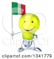 Clipart Of A 3d Happy Yellow Light Bulb Character Holding And Pointing To An Italian Flag Royalty Free Illustration