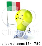 Clipart Of A 3d Unhappy Yellow Light Bulb Character Holding An Italian Flag And Walking Slightly To The Left Royalty Free Illustration