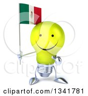 Clipart Of A 3d Happy Yellow Light Bulb Character Holding And Pointing To A Mexican Flag Royalty Free Illustration