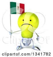 Clipart Of A 3d Unhappy Yellow Light Bulb Character Holding A Mexican Flag Royalty Free Illustration